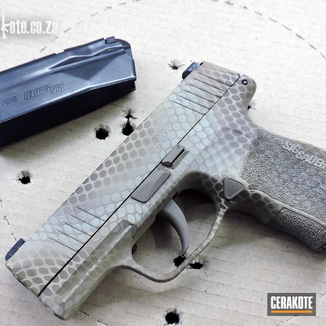 Cerakoted: S.H.O.T,Sig P365,Bright White H-140,9mm,Webbed,Net Camo,MAGPUL® FLAT DARK EARTH H-267,p365,Desert Sand H-199,Copper Brown H-149,Handgun,Chocolate Brown H-258