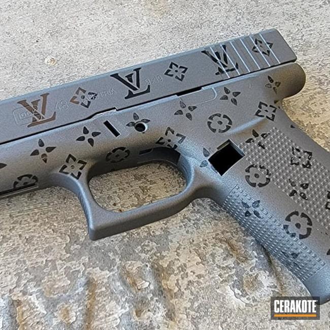 Cerakoted: Glock 48,S.H.O.T,9mm,Gloss Black H-109,Tungsten H-237,Louis Vuitton,Guns for Girls,Handgun