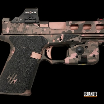 Custom Camo Glock 19 Cerakoted Using Armor Black, Rose Gold And Tungsten