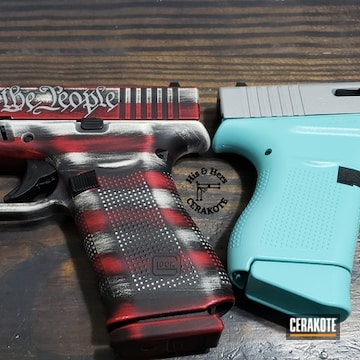 Glocks Cerakoted Using Snow White, Crushed Silver And Sky Blue