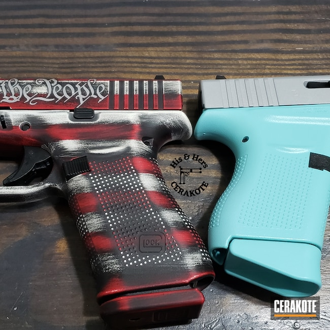 Cerakoted: Robin's Egg Blue H-175,Snow White H-136,Graphite Black H-146,RUBY RED H-306,Distressed American Flag,Crushed Silver H-255,We the people,His and Hers,.9,Sky Blue H-169