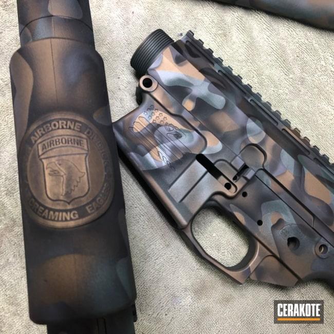 Custom Camo Ar Cerakoted Using Charcoal Green, Armor Black And Sniper Grey