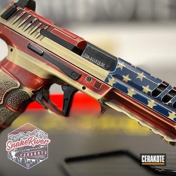 Distressed American Flag Themed Heckler & Kotch Pistol Cerakoted Using Kel-tec® Navy Blue, Crimson And Armor Black