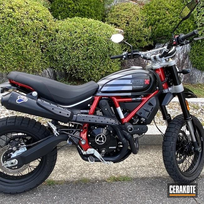 Cerakoted: Jet Black V-169,Ducati,Scrambler,Exhaust,.223,Automotive,Exhaust Systems,Muffler,Motorcycle,.22