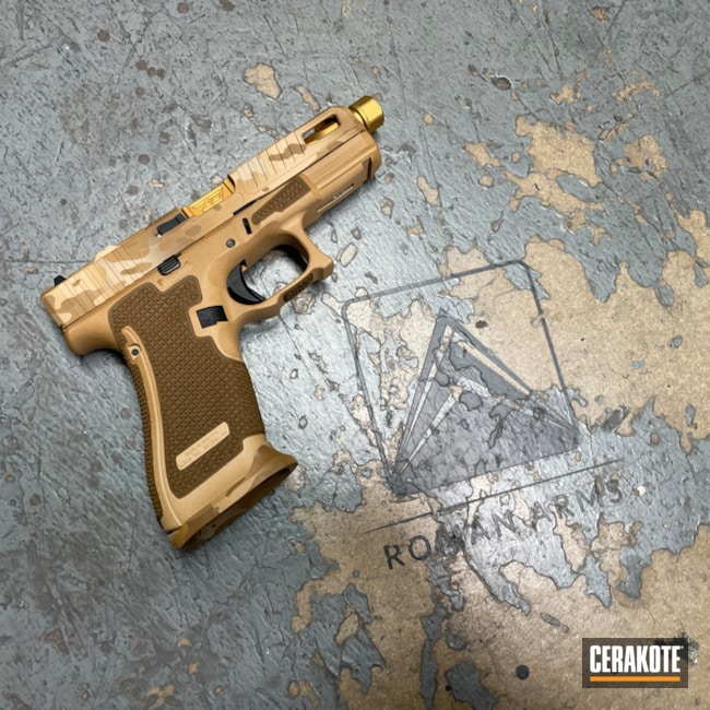 Custom Camo Glock 45 Cerakoted Using Noveske Tiger Eye Brown, A.i. Dark Earth And Fs Sabre Sand