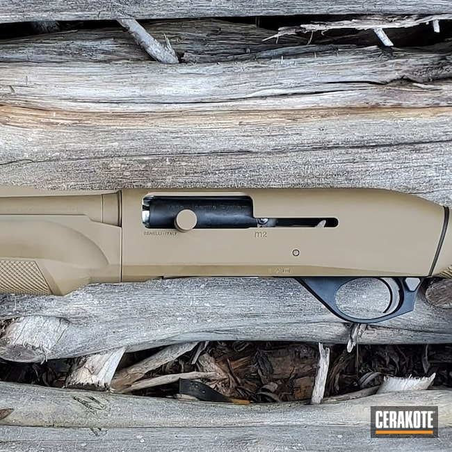 Benelli M2 Shotgun Cerakoted Using Glock® Fde And Micro Slick Dry Film Lubricant Coating (oven Cure)