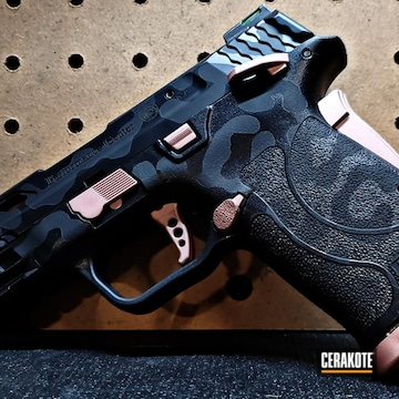 Smith & Wesson M&p Shield Pistol Cerakoted Using Rose Gold, Graphite Black And Blackout