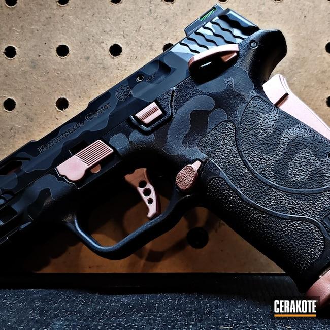 Cerakoted: S.H.O.T,Leopard Print,9mm,BLACKOUT E-100,Graphite Black H-146,Smith & Wesson,Pistol,M&P Shield EZ,ROSE GOLD H-327
