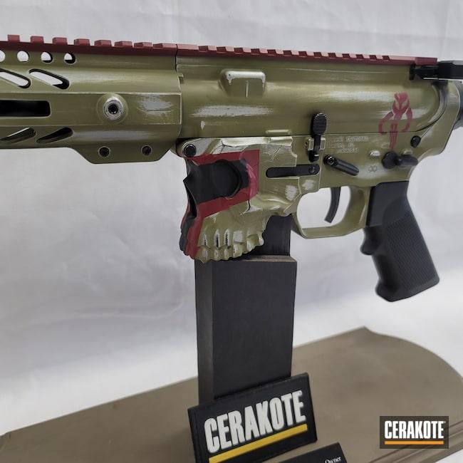 Cerakoted: S.H.O.T,AR Pistol,Spike's Tactical,Graphite Black H-146,Crimson H-221,Boba Fett,Satin Aluminum H-151,Noveske Bazooka Green H-189,Jack
