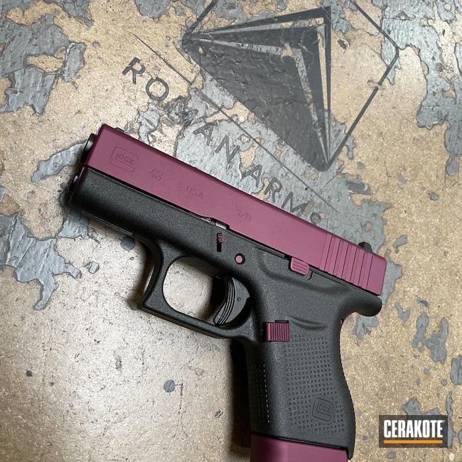 Cerakoted: S.H.O.T,Magazine Base Plate,EDC Pistol,BLACK CHERRY H-319,Pistol,Slide,EDC,Glock 43,Handgun,9mm,Glock,Small Parts,Handguns