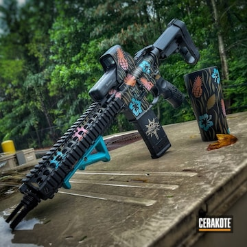 Flower Themed Ar Build Cerakoted Using Bazooka Pink, Armor Black And Forest Green