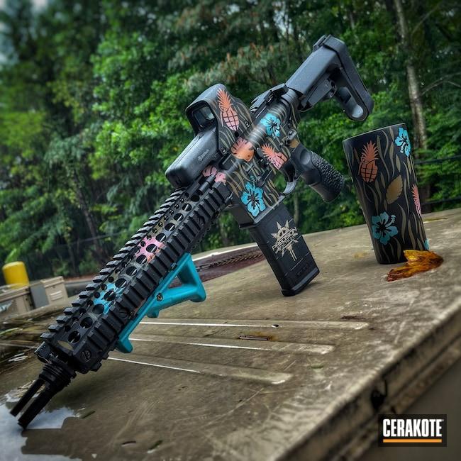 Cerakoted: S.H.O.T,Bazooka Pink H-244,COPPER H-347,AR Pistol,Daniel Defense,AZTEC TEAL H-349,Armor Black H-190,Forest Green H-248,.223 Wylde,Pineapple