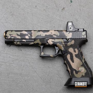 Custom Camo Glock 34 Cerakoted Using Noveske Bazooka Green, Mud Brown And Desert Sand
