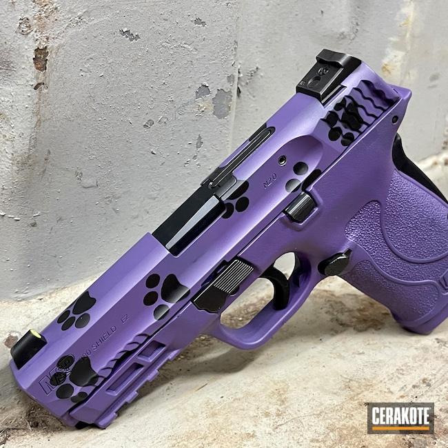 Cerakoted: S.H.O.T,9mm,Graphite Black H-146,Bright Purple H-217,Smith & Wesson,M&P Shield EZ,Pawprints