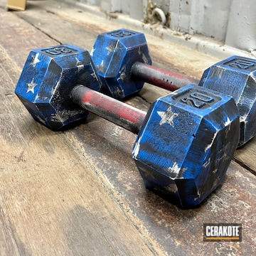 Distressed American Flag Themed Dumbells Cerakoted Using Armor Black, Snow White And Usmc Red