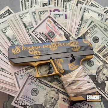 Pistol Cerakoted Using Shimmer Aluminum And Gold