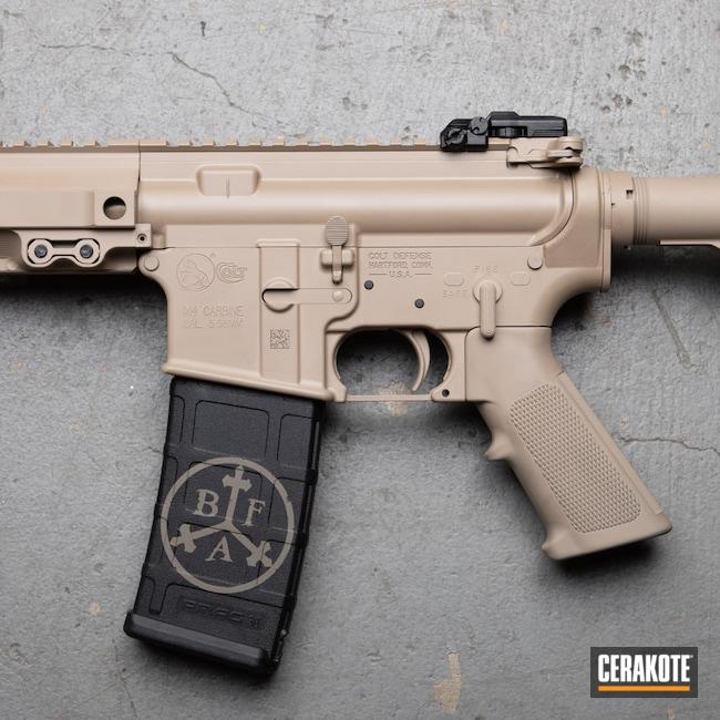 Cerakoted: S.H.O.T,Rifle,Mil Spec,MCMILLAN® TAN H-203,Colt,black flag armory,Southern Oregon,M4 Carbine,5.56,Medford