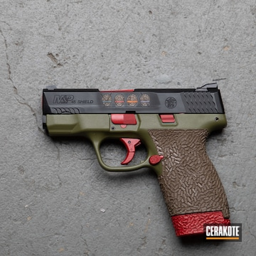 Smith & Wesson M&p Shield Pistol Cerakoted Using Noveske Bazooka Green, Shimmer Aluminum And Habanero Red