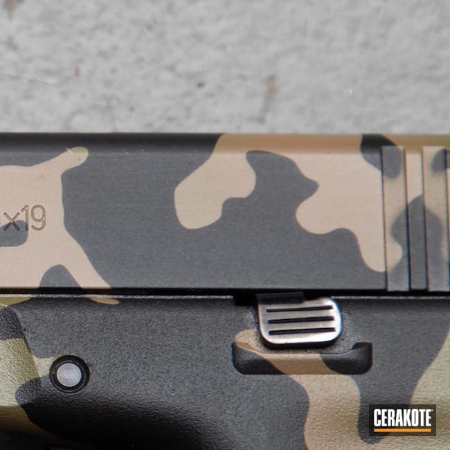 Cerakoted: S.H.O.T,MULTICAM® BRIGHT GREEN H-343,MAGPUL® FLAT DARK EARTH H-267,MultiCam Black,Custom Camo,Medford,Handgun,9mm,Graphite Black H-146,black flag armory,Glock,Southern Oregon,Glock 19X