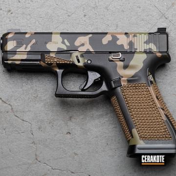 Custom Camo Glock 19x Pistol Cerakoted Using Multicam® Bright Green, Graphite Black And Magpul® Flat Dark Earth