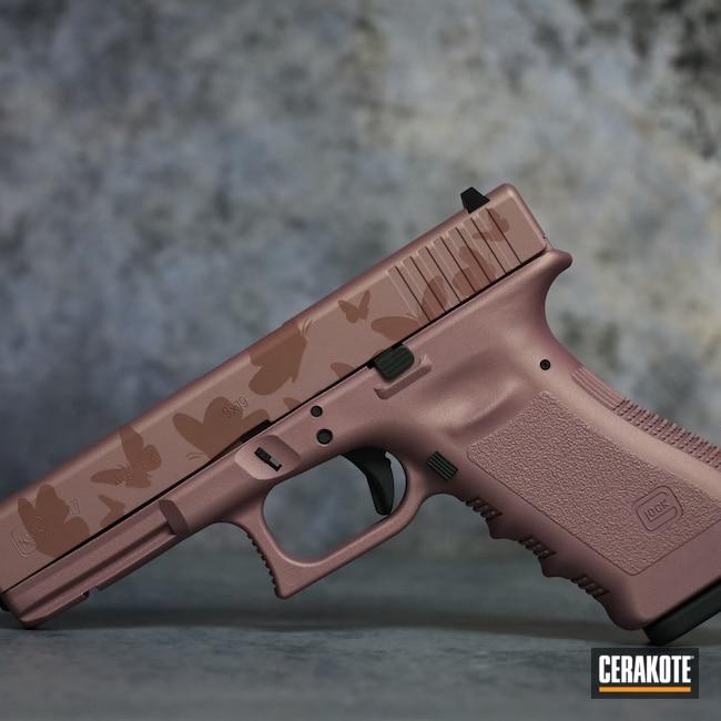 Cerakoted: S.H.O.T,9mm,PINK CHAMPAGNE H-311,Pistol,Glock,Glock 17,SIG™ DARK GREY H-210,Laser Engrave,Handgun