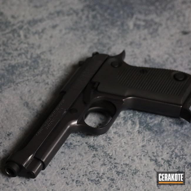 Cerakoted: S.H.O.T,9mm,BLACKOUT E-100,Pistol,Beretta,CARBON GREY E-240,Handgun