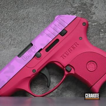 Ruger Lcp Pistol Cerakoted Using Bazooka Pink, Sig™ Dark Grey And Purplexed