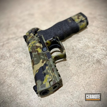 Custom Camo Heckler & Koch P30 Pistol Cerakoted Using Plum Brown, Multicam® Pale Green And Multicam® Light Green