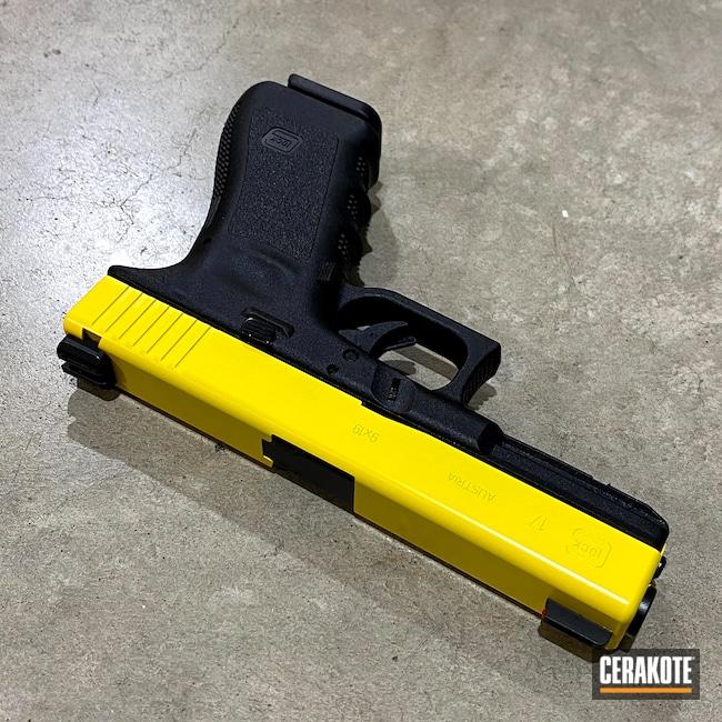 Cerakoted: S.H.O.T,9mm,Corvette Yellow H-144,Two Tone,Pistol,Glock,Glock 17,Firearms,G17,Glock 17 Gen 3,Slide Only,Handgun