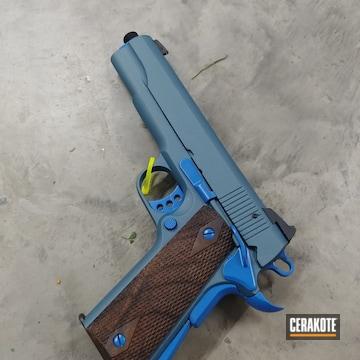 1911 Pistol Cerakoted Using Nra Blue And Blue Titanium