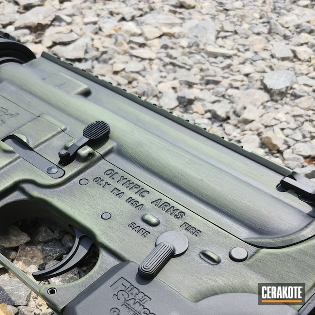 Cerakoted: S.H.O.T,Graphite Black H-146,Battle Rifle,.223,Forest Green H-248,Olympic Arms