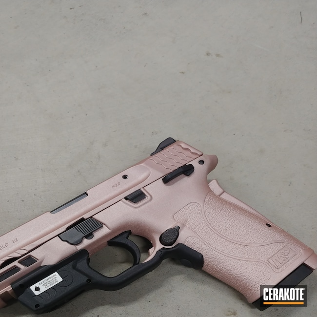 Cerakoted: S.H.O.T,9mm,Conceal Carry,Smith & Wesson,Pistol,M&P Shield EZ,ROSE GOLD H-327,Self Defense