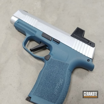 Sig Sauer P365 Pistol Cerakoted Using Crushed Silver And Blue Titanium