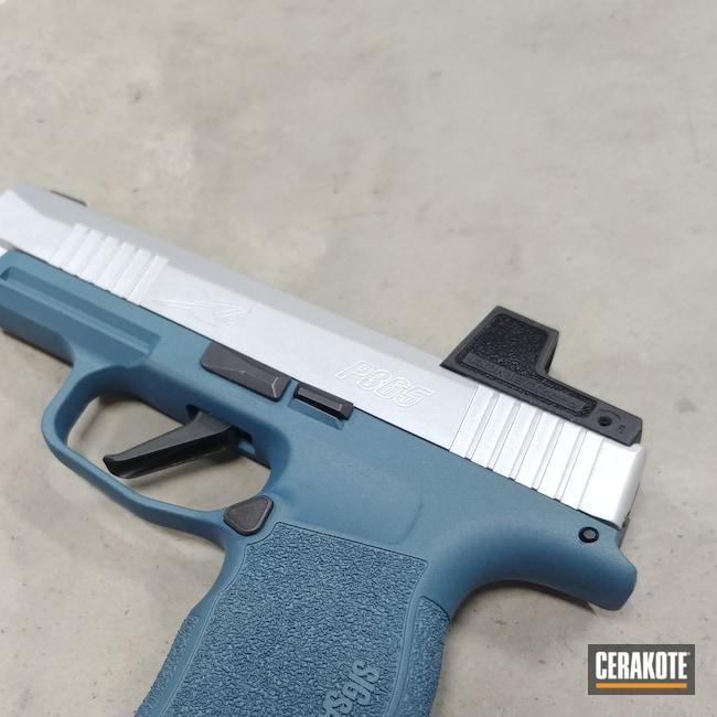 Cerakoted: 9mm,Sig P365,Conceal Carry,p365,Crushed Silver H-255,Pistol,Sig,Blue Titanium H-185