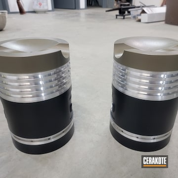 Pistons Cerakoted Using Micro Slick Dry Film Lubricant Coating (oven Cure) And Piston Coat (oven Cure)