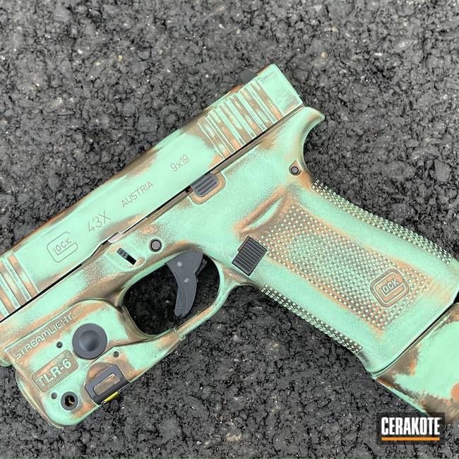 Cerakoted: S.H.O.T,9mm,Glock 43X,COPPER H-347,Robin's Egg Blue H-175,Zombie Green H-168,Glock,Midnight Bronze H-294,Sky Blue H-169