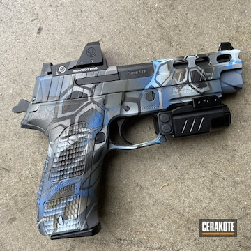 Kryptek Camo Sig Sauer P226 Pistol Cerakoted Using Hidden White, Steel Grey And Nra Blue