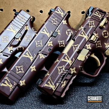 Louis Vuitton Themed Smith & Wesson M&p Shields Cerakoted Using Crimson, Graphite Black And Burnt Bronze
