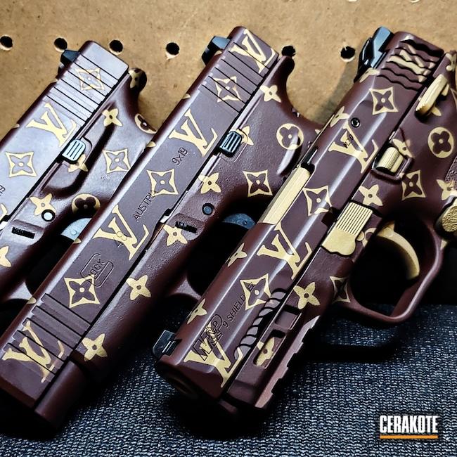 Cerakoted: S.H.O.T,9mm,Graphite Black H-146,Smith & Wesson,Crimson H-221,Burnt Bronze H-148,Pistol,Louis Vuitton,M&P Shield EZ,Gold H-122,Handgun