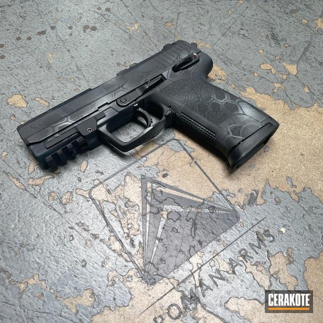 Cerakoted: S.H.O.T,Custom Mix,MultiCam,Custom,HK USP,.45 ACP,HK Pistol,Tungsten H-237,Armor Black H-190,Heckler & Koch,Custom Camo,Blue Titanium H-185