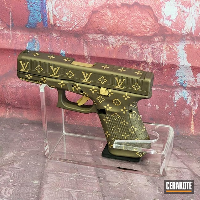 Cerakoted: S.H.O.T,Glock 44,LV,Burnt Bronze H-148,Louis Vuitton,.22LR,Guns for Girls,Gold H-122,Handgun,Ladies