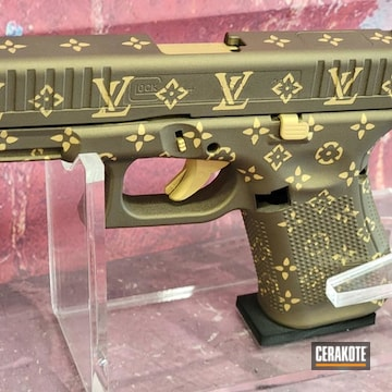 Louis Vuitton Themed Glock 44 Cerakoted Using Burnt Bronze And Gold