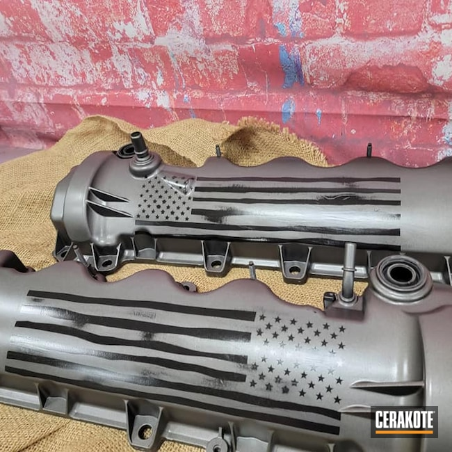 Cerakoted: S.H.O.T,US Flag,Graphite Black H-146,Automotive Parts,Distressed,HIGH GLOSS CERAMIC CLEAR MC-160,Distressed Flag,Tungsten H-237,American Flag,Valve Covers,Automotive
