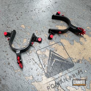 Custom Spurs Cerakoted Using Usmc Red And Blackout