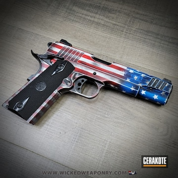 Distressed American Flag Themed Taurus 1911 Pistol Cerakoted Using Stormtrooper White, Usmc Red And Nra Blue