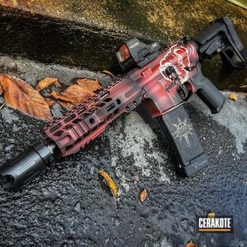 Distressed Ar Build Cerakoted Using Crimson, Armor Black And Titanium