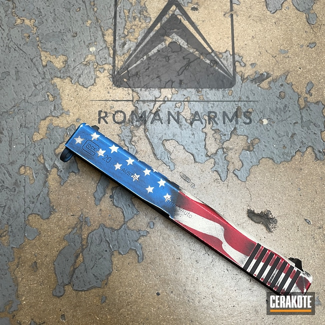 Cerakoted: S.H.O.T,USMC Red H-167,Pistol,American Flag,Glock 10mm,Slide,Handgun,Bright White H-140,10mm,NRA Blue H-171,Graphite Black H-146,Distressed American Flag,22,Glock,Custom Glock Slide,Glock 22,Handguns