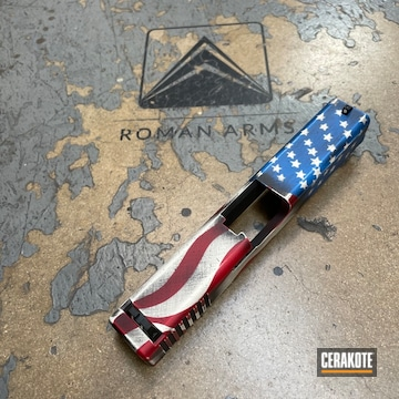 Distressed American Flag Themed Glock Slide Cerakoted Using Usmc Red, Bright White And Nra Blue