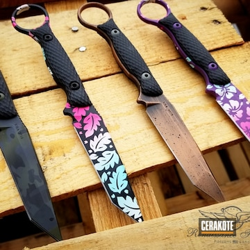 Fixed-blade Knives Cerakoted Using Snow White, Prison Pink And Robin's Egg Blue