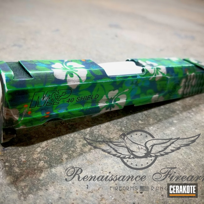 Cerakoted: S.H.O.T,Green Mamba H-351,M&P Shield 9mm,Snow White H-136,Hawaiian,Smith & Wesson,Sky Blue H-169